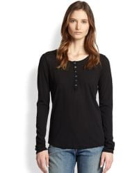 James Perse Cotton Henley Tee - Lyst