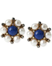 Betsey Johnson Gold-Tone Blue Bead And Faux Pearl Button Cluster Earrings - Lyst