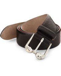 Alexander McQueen Double-Skull Buckle Leather Belt black - Lyst
