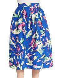 Shoshanna - Jackie Floral-print Tea-length Full Skirt - Lyst