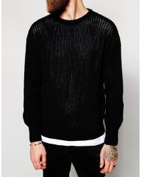 American Apparel Knitted Fishermans Crew Neck Sweater black - Lyst