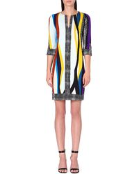Diane Von Furstenberg Rose Printed Silk Dress Glass Patch  Black - Lyst