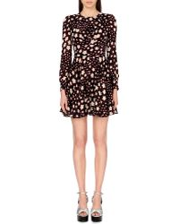 Saint Laurent Star-Print Crepe Dress - For Women black - Lyst