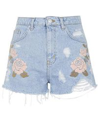 Topshop Moto Embroidered Mom Shorts - Lyst