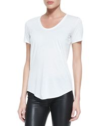 Helmut Lang Kinetic Shortsleeve Scoopneck Tee Optic White - Lyst