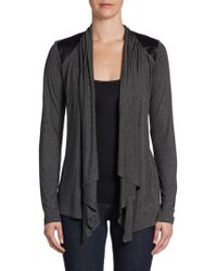 Saks Fifth Avenue Black Veganleather Detailed Cardigan - Lyst