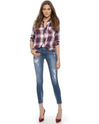 True Religion Halle Mid Rise Super Skinny Jeans - Dusty Bleachers - Lyst
