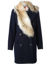 MSGM Fur Collar Double Breasted Coar - Lyst