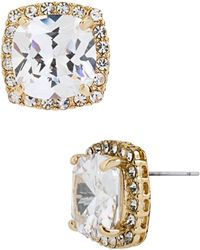 Betsey Johnson Square Gold Tone and Cubic Zirconia Stud Earrings - Lyst