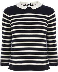 Oasis Cropped Stripe Collar Top - Lyst