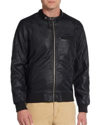 Members Only Faux Leather Hooded Bomber Jacket - Lyst