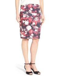 Dex - Floral Print Scuba Knit Pencil Skirt - Lyst