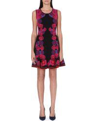 Diane Von Furstenberg Rose Print Knitted Dress Purple Multi - Lyst