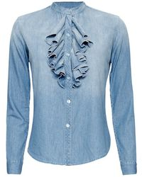 NSF | Exclusive Ruffled Denim Shirt | Lyst