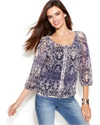 Inc International Concepts Printed Peasant Blouse - Lyst