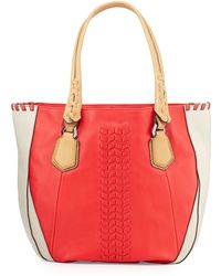 orYANY Lyssie Colorblock Whipstitched Tote Bag red - Lyst