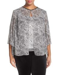 Alex Evenings | Alex Evening Embellished Paisley Print Blouse With Overlay | Lyst