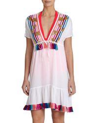 Shoshanna Rainbow-Fringe Peasant Dress multicolor - Lyst