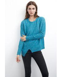 Velvet By Graham & Spencer Emylee Asymmetric Boucle Sweater teal - Lyst