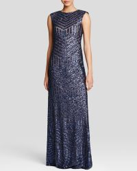 Vera Wang Gown - Sleeveless Sequin Embellished blue - Lyst