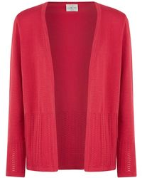 Eastex Pointelle Trim Edge To Edge Cardi - Lyst