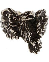 Werkstatt:münchen Silver Large Eagle Ring - Black