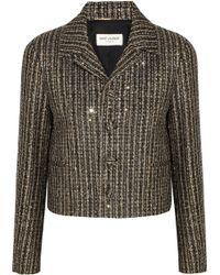Saint Laurent Sequinembellished Metallic Tweed Jacket - Lyst