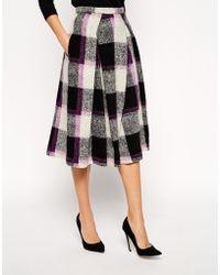 Asos Full Midi Skirt in Bold Check - Lyst