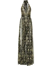J. Mendel Baroque Embroidered Halter Gown - Lyst