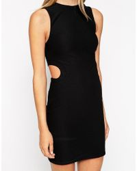 Asos Textured Cut Out Body-Conscious Dress - Lyst