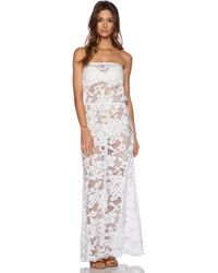 Shoshanna White Lace Strapless Maxi Dress - Lyst