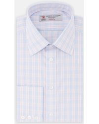 Turnbull & Asser | Exclusive Blue And Pink Check Cotton Shirt With Classic T&a Collar | Lyst