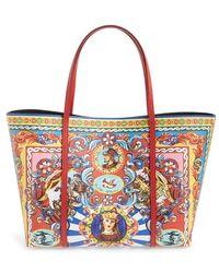 00f29eb83c6f Dolce   Gabbana -  miss Escape - Carretto Print  Leather Tote - Lyst