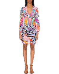 Emilio Pucci Abstract-Print Silk Dress - Lyst