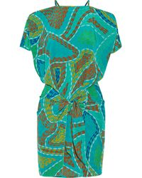 Issa Wrap-Effect Printed Silk Crepe De Chine Mini Dress - Lyst