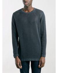 Topman Charcoal Mesh Side Split Crew Neck Sweater - Lyst
