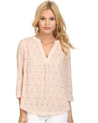 Rebecca Taylor Long Sleeve Mosaic Fil Coupe Top - Lyst