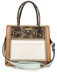River Island Brown Panelled Structured Tote Bag - Lyst