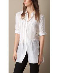 Burberry Pintuck Detail Cotton Silk Shirt - Lyst