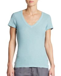 James Perse Banded Cotton V-Neck Tee teal - Lyst