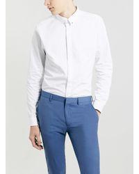 Topman Premium Long Sleeve White Pin Collar Smart Shirt - Lyst