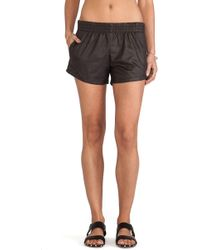 Monrow Vegan Leather Shorts - Lyst