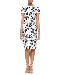 Carolina Herrera Short-Sleeve Pansy-Print Sheath Dress - Lyst