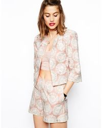 Asos Blazer In Pastel Lace pink - Lyst