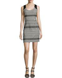 Nicole Miller Sleeveless Graphic Jacquard Dress - Lyst