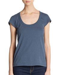 James Perse Striped Cotton Scoopneck Tee - Lyst