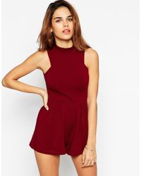 Asos Jersey Playsuit With High Neck And Cut Out Back - Lyst