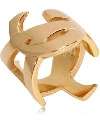 Saint Laurent Monogramme Plated Metal Ring - Lyst