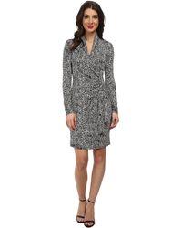 Karen Kane Monotone Print Cascade Wrap Dress - Lyst