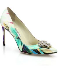 Brian Atwood Janne Bejeweled Floral-Print Silk Pumps - Lyst